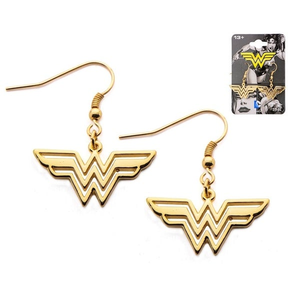 c586b22ff Shop Wonder Woman Logo Gold Plated Stainless Steel Dangle Earrings - Free  Shipping On Orders Over $45 - Overstock - 20200776