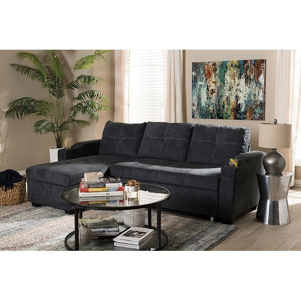 Lianna Dark Grey Fabric Upholstered Sectional Sofa W Storage Chaise