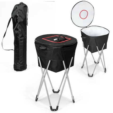 Gymax Portable Insulated Tub Cooler w/ Folding Stand & Carry Bag Party