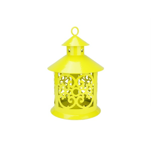 """8"""" Shiny Yellow Votive or Tealight Candle Holder Lantern with Star and Scroll Cutouts"""
