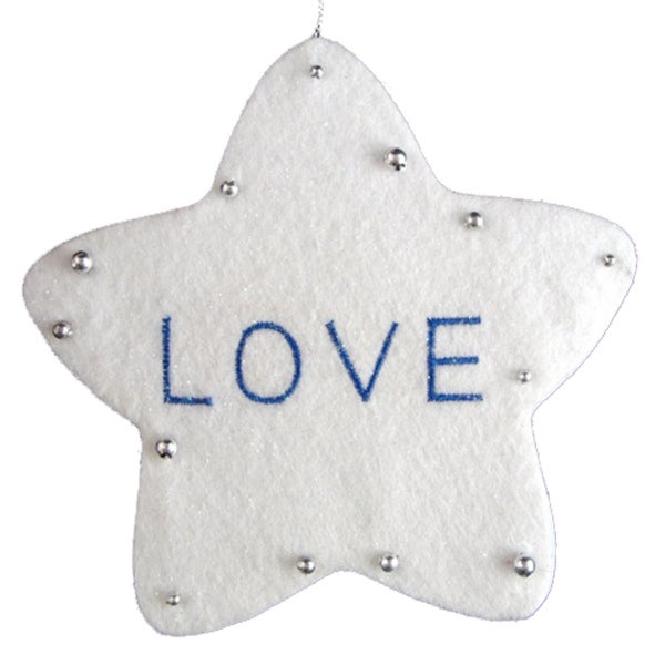 "5"" White Word Star ""Love"" Christmas Ornament"