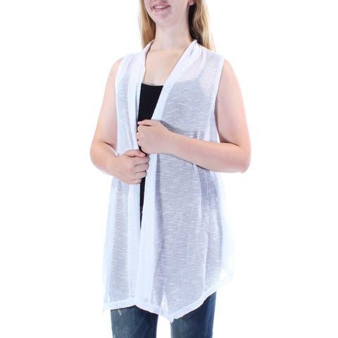 ALFANI Womens White Sleeveless Open Cardigan Vest Sweater Size: M