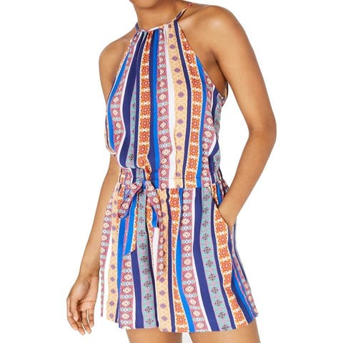 Bebop Blue Size XL Junior's Romper Drawstring Waist Halter Striped