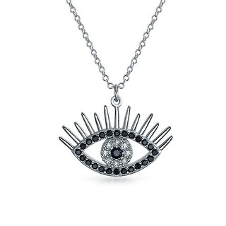 Bling Jewelry .925 Sterling Silver Black CZ Evil Eye Necklace 16 Inches