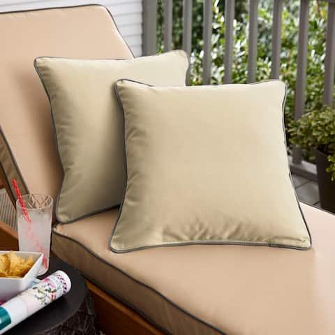 Sunbrella Canvas Antique Beige/ Canvas Charcoal Indoor/ Outdoor Pillow Set