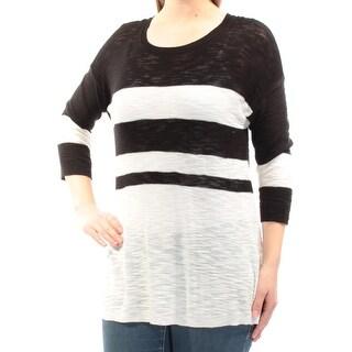 Womens Black Ivory 3/4 Sleeve Jewel Neck Casual Sweater Size M