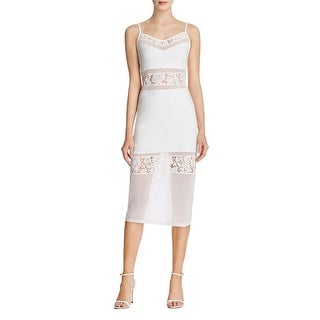 French Connection Womens Lucky Casual Dress Illusion Lace Insets