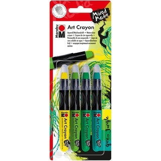Marabu Creative Art Crayon Set 4/Pkg-Green Jungle - Yellow & Greens
