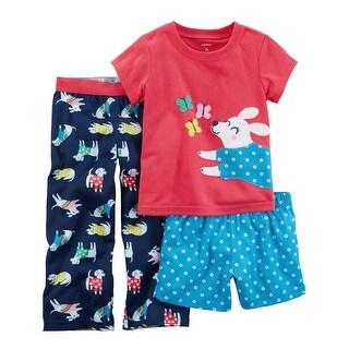 Carter's Little Girls' 3-Piece Dog Jersey PJs, 5-Toddler - Blue