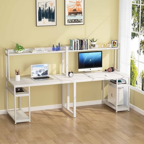 94.5 Inch Computer Desk with Hutch, Extra Long Two Person Desk with Shelves