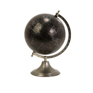 Executive Black and Silver Desktop Globe with Nickel Finish Base 13""