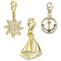 Julieta Jewelry Sailboat, Sun, Anchor 14k Gold Over Sterling Silver Clip-On Charm Set