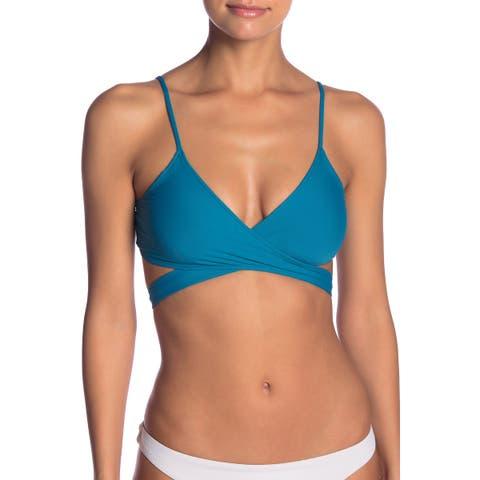 L Space Women's Swimwear Blue Size Large L Bikini Top Chloe Wrap Solid