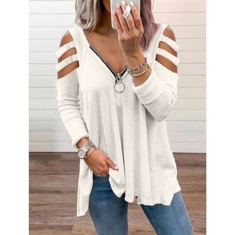 Women's Casual Top With Solid Color Zipper Straps