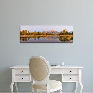 Easy Art Prints Panoramic Images's 'Mountains, Snake River, Oxbow Bend, Grand Teton National Park, Wyoming' Canvas Art