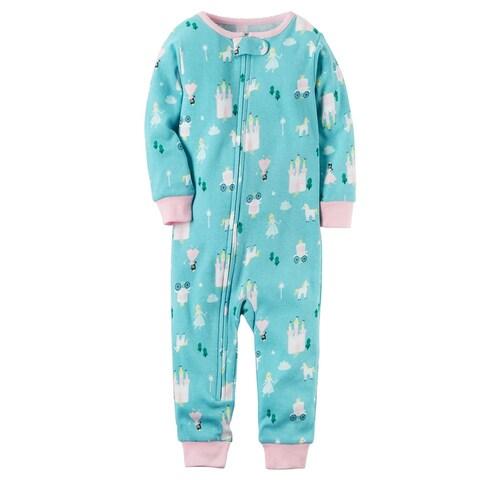 Carter's Baby Girls' 1-Piece Princess Snug Fit Cotton Footless Pajamas, 18 Mo - green princess