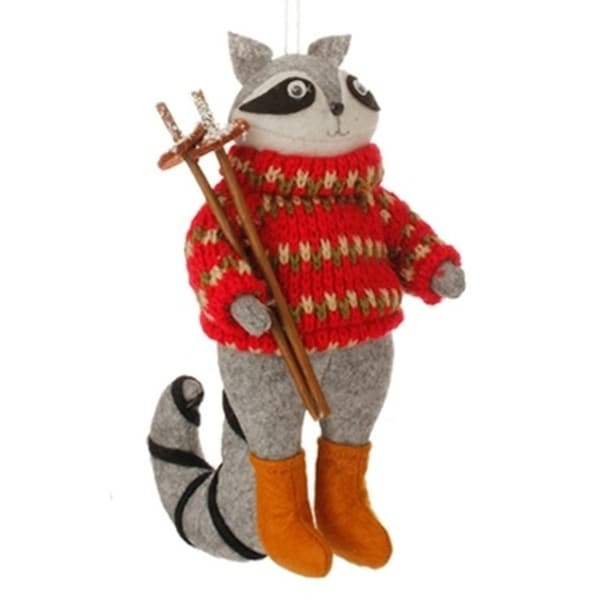 "7"" Country Cabin Stuffed Animal Raccon with Red Sweater and Ski Poles Christmas Figure Ornament"