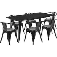 Brimmes 7pcs Rectangular 31.5'' x 63'' Black Metal Table w/6 Arm Chairs