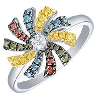 Prism Jewel 0.36Ct SI1 Multi Color Diamond & G-H/I1 Natural Diamond Round Shape Flower Ring