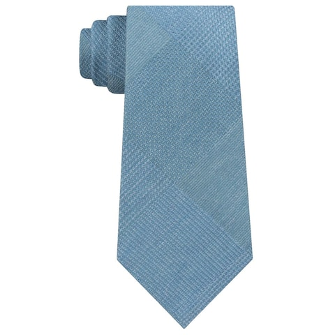 Kenneth Cole Reaction Men's Updated Glen Plaid Tie Teal