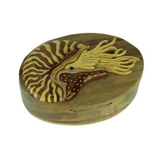 Hand Carved Wood 3D Nautilus In Shell Puzzle Trinket Box - 2.25 X 5.75 X 3.75 inches