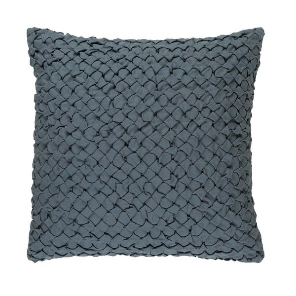 "18"" Haze Gray Angled Weave Decorative Square Throw Pillow – Down Filler"