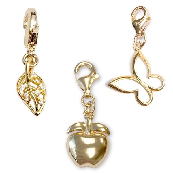 Julieta Jewelry Apple, Leaf, Butterfly 14k Gold Over Sterling Silver Clip-On Charm Set