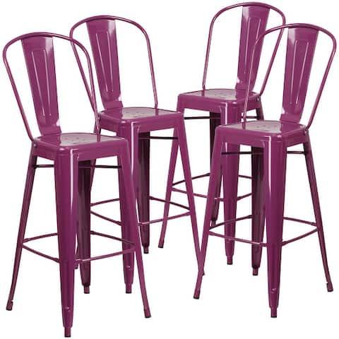 30-inch High Metal Indoor/Outdoor Barstools with Backs (Set of 4)