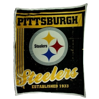 Pittsburgh Steelers Super Soft Sherpa Style Throw Blanket - Multicolored - 0.5 X 60 X 50 inches