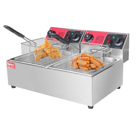 6L/12L Upgraded Time Control Commercial Electric Deep Fryer French Fry Bar Restaurant Tank w/ Basket Size Opt
