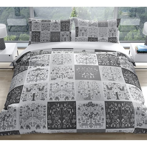 SCANDINAVIAN PATCHWORK GREYSCALE Duvet Cover by Kavka Designs
