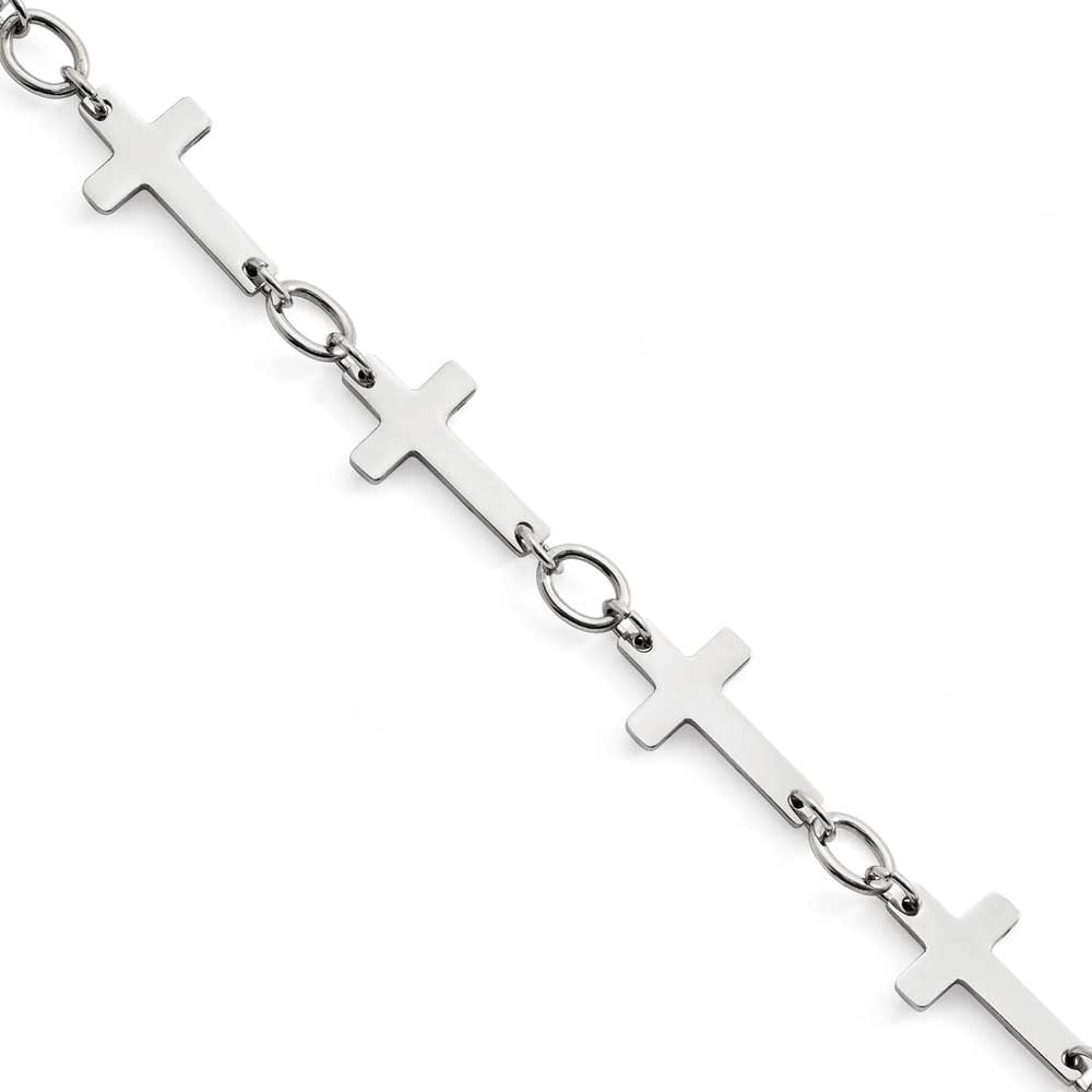 Chisel Stainless Steel Polished Sideways Cross Anklet 5 Mm 10 In