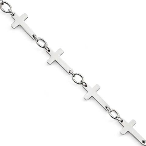 Chisel Stainless Steel Polished Sideways Cross Anklet (5 mm) - 10 in