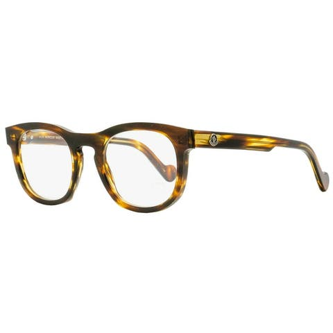 Moncler ML5040 055 Mens Striped Havana 49 mm Eyeglasses - Striped Havana