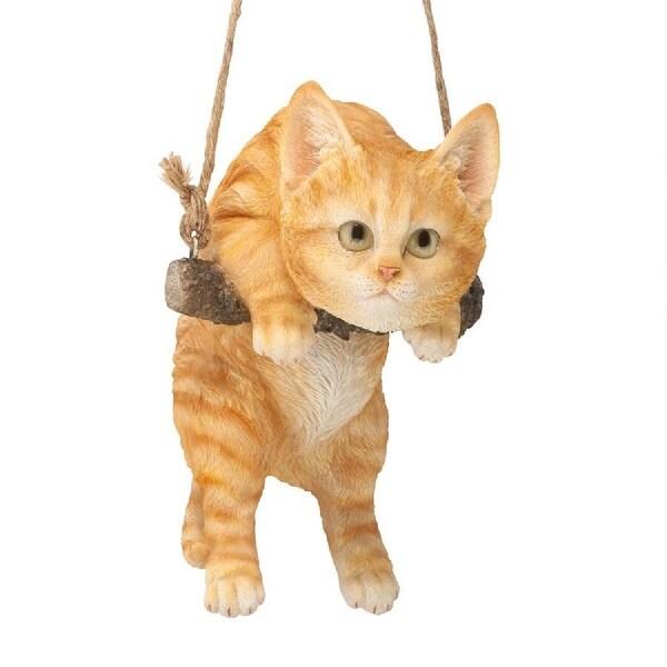 "8"" Hanging Around Orange cat Outdoor Statue - N/A"