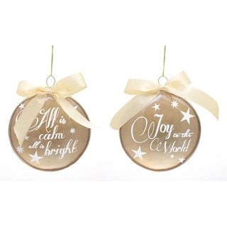 Pack of 12 Gold Round Joy to the World and Silent Night Glass Christmas Ornaments 3.5