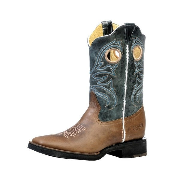Rugged Country Western Boots Mens Rubber Stockman Square Tan Blue