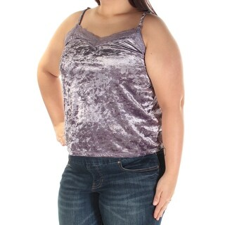 Womens Purple Spaghetti Strap V Neck Top Size XL