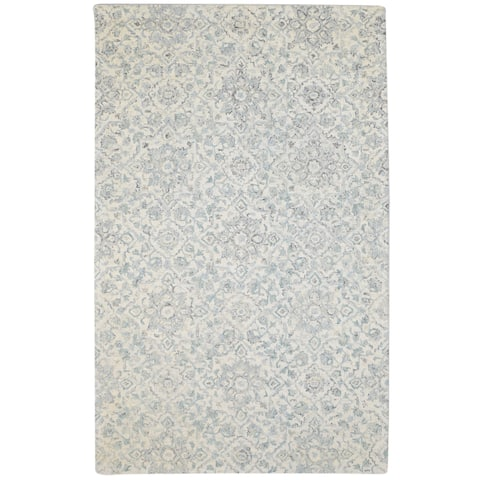"""One of a Kind Hand-Tufted Modern & Contemporary 5' x 8' Floral & Botanical Wool Grey Rug - 5'0""""x8'0"""""""