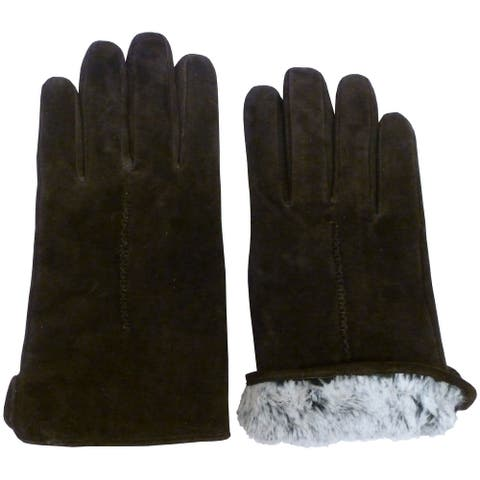 NICE CAPS Mens Genuine Suede Leather Glove With Soft Plush Lining - Brown