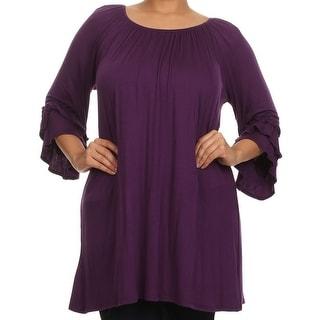 Women Plus Size Half Sleeve Solid Off Shoulder Casual Tunic Top Dress Purple