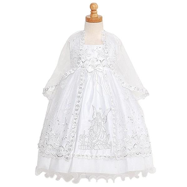 Rain Kids White Silver Embroidered Angel Baptism Dress Girls 6M-4T