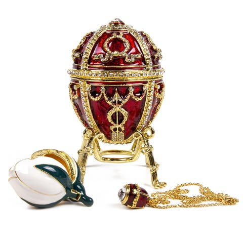 Imperial Faberge Arrow Egg / Jewelry Box w/ Flower and Pendant in Bordeaux