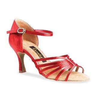 Sansha Adult Red Satin Upper Heeled Buckle Selia Ballroom Shoes Womens