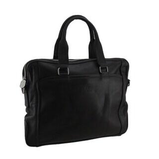 Mens Brown Genuine Leather Business Travel Portfolio Bag