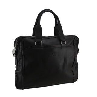 Mens Brown Genuine Leather Business Travel Portfolio Bag