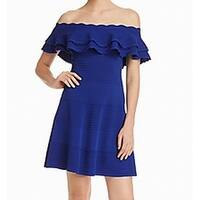 Eliza J Blue Womens Size Small S Off Shoulder Ruffle A-Line Dress
