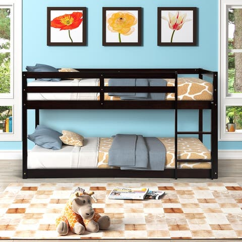AOOLIVE Pine Wood Twin over Twin Floor Bunk Bed