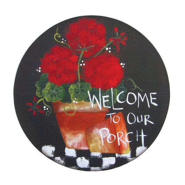 Warm Southern Porch Welcome Red Geraniums 16 Inch Round Canvas Wall Decor