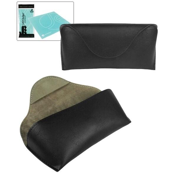 JAVOedge Genuine Fine Soft Leather Semi Hard Eyeglass Case with Magnetic Secure Closure, Bonus Microfiber Cleaning Cloth - Black